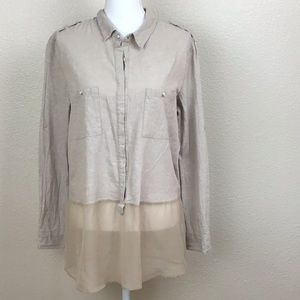 Monoreno Linen/chiffon top convertible sleeves😘